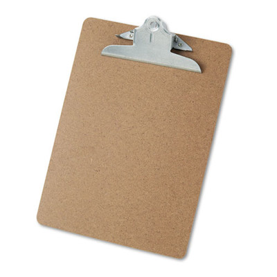 Universal Hardboard Clipboard, 1 inch Capacity, Holds 8 1/2 x 11, Brown - UNV40304 - Part Number: 3401-08201
