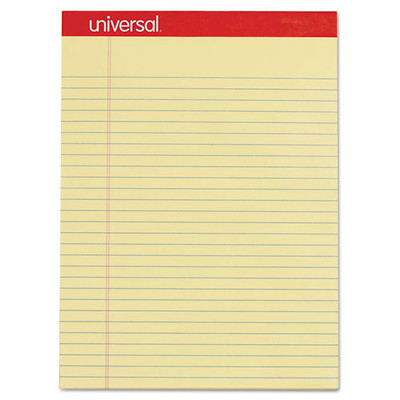 Universal Perforated Ruled Writing Pad, Legal/Margin Rule, Letter, Canary, 50 Sheet, 12/pack - UNV10630 - Part Number: 3411-01103