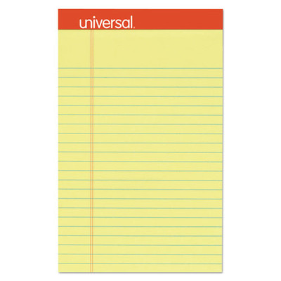 Universal Perforated Ruled Writing Pad, Narrow Rule, 5 x 8, Canary, 50 Sheet, 12/pack - UNV46200 - Part Number: 3411-01104