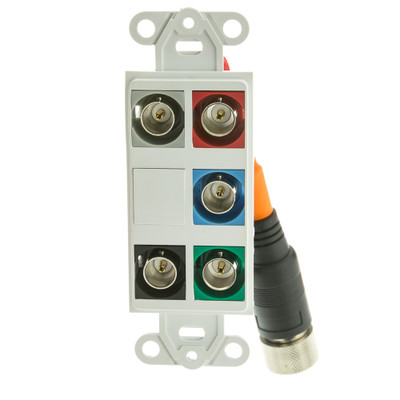 EZ Pull Audio/Video Wall Plate, Orange Male to 5 BNC Female (RGBHV) Converter - Part Number: 35B5-03100