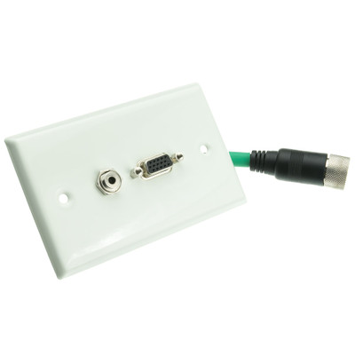 EZ Pull Video Wall Plate, Green Male to VGA (HD15) Female and 3.5mm Female - Part Number: 35H1-05200