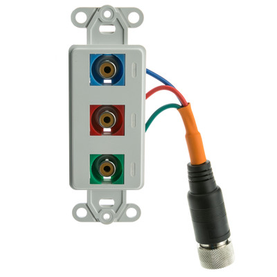 EZ Pull Audio/Video Wall Plate, Orange Male to Component Video (3 RCA Female, RGB) Converter - Part Number: 35R3-13100
