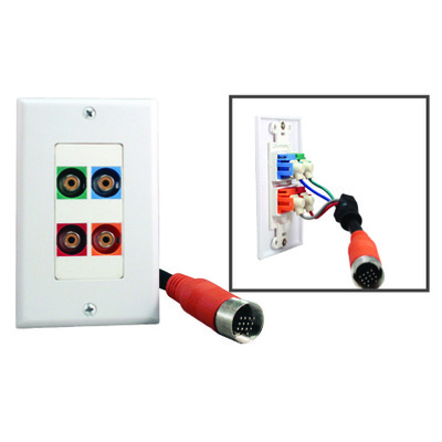 EZ Pull Audio/Video Wall Plate, Orange Male to Component Video (3 RCA Female, RGB) + Digital Audio (RCA Female) Converter - Part Number: 35R4-03100