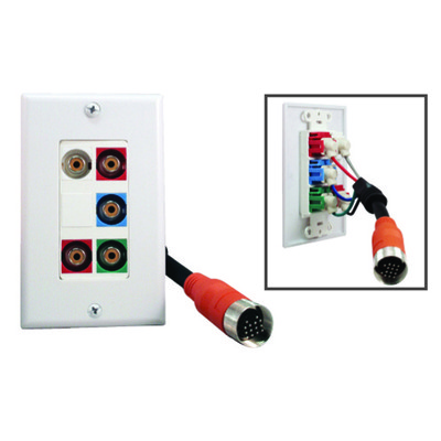 EZ Pull Audio/Video Wall Plate, Orange Male to Component Video (3 RCA Female, RGB) + Stereo Audio (2 RCA Female) Converter - Part Number: 35R5-03100