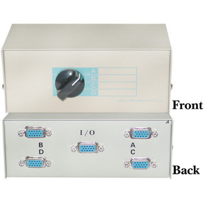 ABCD 4 Way Switch Box, HD15 (VGA) Female - Part Number: 40H1-03604