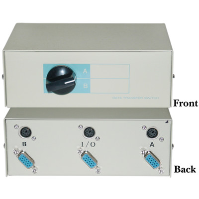 AB 2 Way Switch Box, HD15 (VGA) Female and MiniDin6 (PS/2) Female - Part Number: 40H1-07402