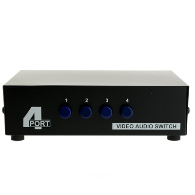 Audio/Video RCA Selector Switch, 4 way, Output 3 RCA Composite Video and Audio Female, Input 4 Sets of 3 RCA Composite Video and Audio Female - Part Number: 40R4-13400