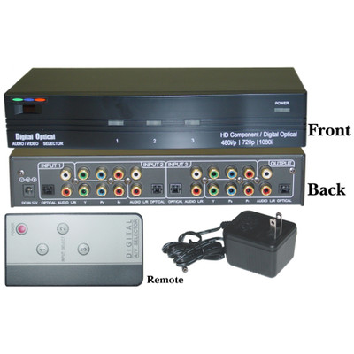 3 in 1 Out, Component Video (HD Compatible) Optical Audio Active Selector Box and Remote Control - Part Number: 40R4-3400H