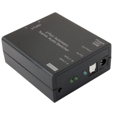 2 Port Toslink Digital Audio Powered Auto Switch, 2 Toslink inputs to 1 Toslink output, Auto and Manual Switching - Part Number: 41TT-20100