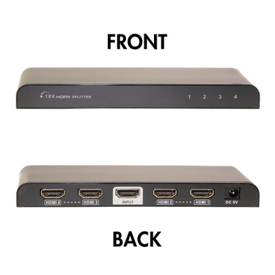 4K HDMI Amplified Splitter, 4 way, 1x4, HDMI High Speed with Ethernet, Metal Housing - Part Number: 41V3-04100