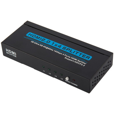 4 way HDMI Amplified Splitter, HDMI High Speed with Ethernet, 4K@60Hz, HDMI v2.0, HDCP2.2, Metal Housing - Part Number: 41V3-04110