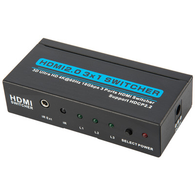 2.0 HDMI Switch, 3 way, 3x1, HDMI High Speed with Ethernet, 4K@60Hz, HDCP2.2, Metal Housing - Part Number: 41V3-23110