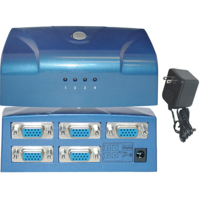 Electronic VGA Switch Box, Blue, 4 PC to 1 Monitor, VGA / HD15 - Part Number: 42H1-414VS