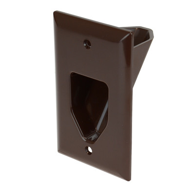 1-Gang Recessed Low Voltage Cable Plate, Brown - Part Number: 45-0001-BR