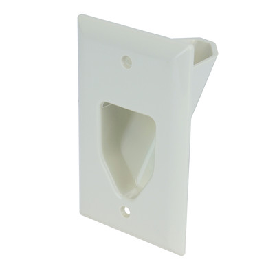 1-Gang Recessed Low Voltage Cable Plate, White - Part Number: 45-0001-WH