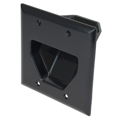 2-Gang Recessed Low Voltage Cable Plate, Black - Part Number: 45-0002-BK