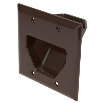2-Gang Recessed Low Voltage Cable Plate, Brown - Part Number: 45-0002-BR
