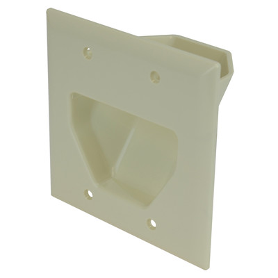 2-Gang Recessed Low Voltage Cable Plate, Lite Almond - Part Number: 45-0002-LA