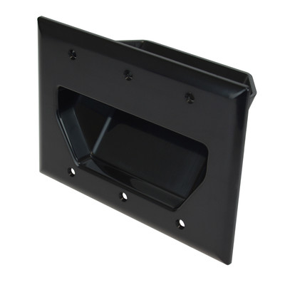 3-Gang Recessed Low Voltage Cable Plate, Black - Part Number: 45-0003-BK