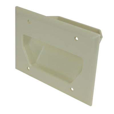 3-Gang Recessed Low Voltage Cable Plate, Lite Almond - Part Number: 45-0003-LA