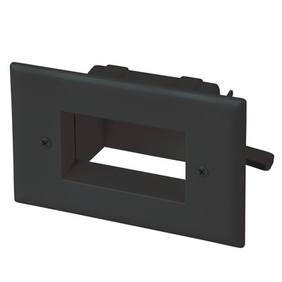 Easy Mount Recessed Low Voltage Cable Pass-through Plate, Black - Part Number: 45-0008-BK
