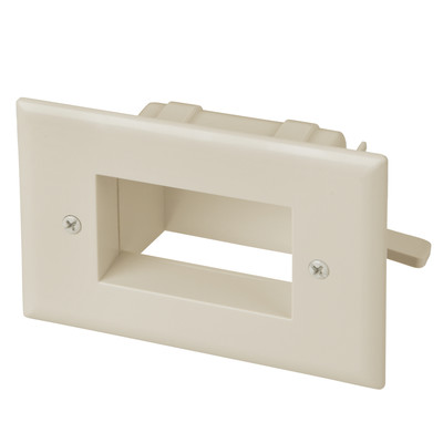 Easy Mount Recessed Low Voltage Cable Pass-through Plate, Lite Almond - Part Number: 45-0008-LA