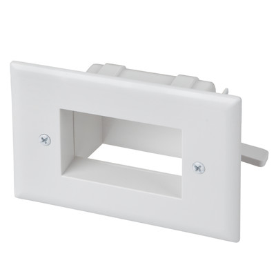 Easy Mount Recessed Low Voltage Cable Pass-through Plate, White - Part Number: 45-0008-WH