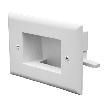 Easy Mount Recessed Low Voltage Cable Pass-through Plate, Slim-fit for wall cavities to 3/4 inch depth, White - Part Number: 45-0009-WH