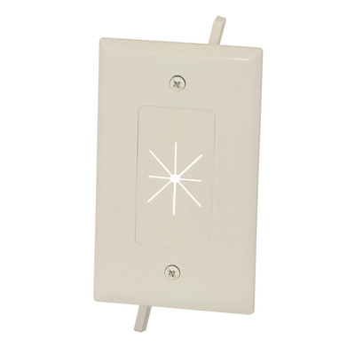 Easy Mount Series Single Gang Cable Passthrough Wall Plate with Flexible Opening, Lite Almond - Part Number: 45-0014-LA