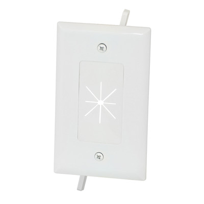 Easy Mount Series Single Gang Cable Passthrough Wall Plate with Flexible Opening, White - Part Number: 45-0014-WH