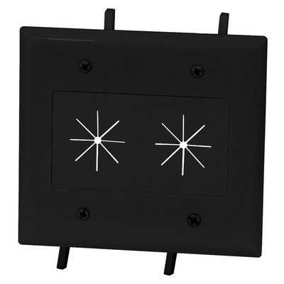Easy Mount Series Dual Gang Cable Passthrough Wall Plate with Flexible Opening, Black - Part Number: 45-0015-BK