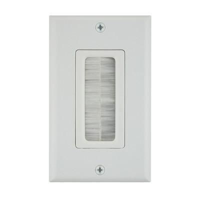 Decora Wall Plate Insert, Brush Style Pass Through, White - Part Number: 45-0018-WH