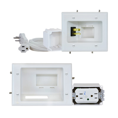 Recessed Pro-Power Kit with Duplex Surge Suppressor and Straight Blade Inlet, White - Part Number: 45-0028-WH