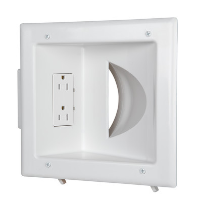 Recessed Low Voltage Media Plate w/Duplex Receptacle, White - Part Number: 45-0031-WH
