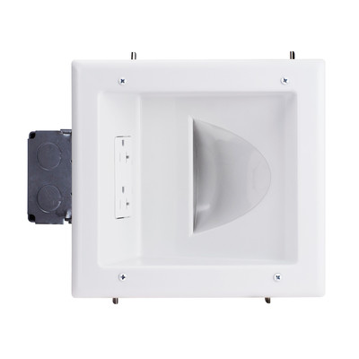 Recessed Low Voltage Media Plate w/ 20 Amp Duplex Receptacle, White - Part Number: 45-0032-WH