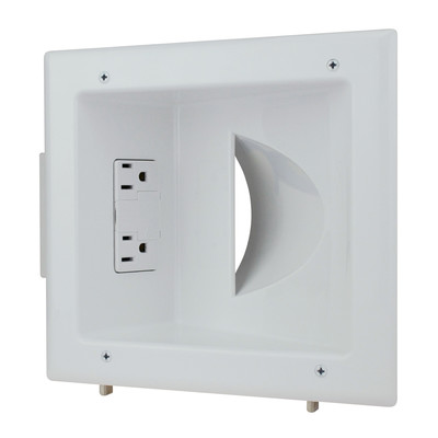 Recessed Low Voltage Media Plate w/Duplex Surge Suppressor, White - Part Number: 45-0041-WH