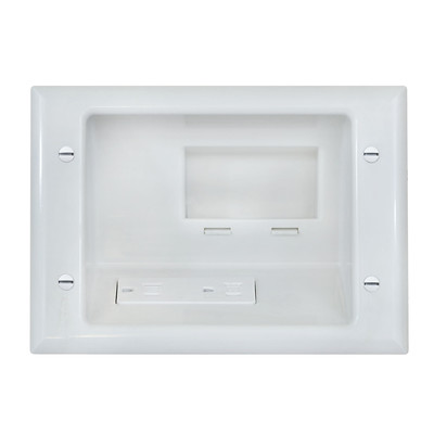 Recessed Low Voltage Mid-Size Plate w/ Duplex Receptacle, White - Part Number: 45-0071-WH