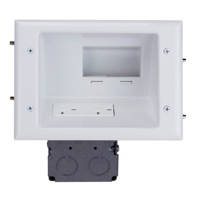 Recessed Low Voltage Mid-Size Plate with 20 Amp Duplex Receptacle, White - Part Number: 45-0072-WH