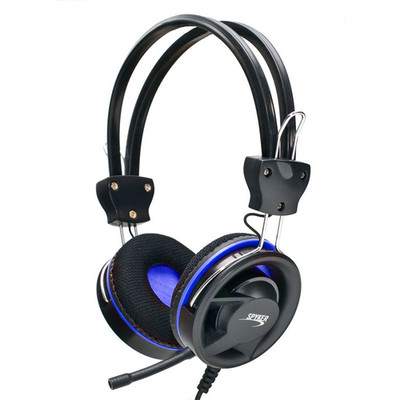 Stereo Headset with Microphone, Modern Style Blue Ring Design - Part Number: 5002-10220BL