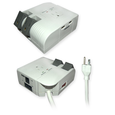 Surge Protector, 3 Outlet Plus USB Charger, Corner Style, Modem Protector, Power Cord 6 foot - Part Number: 51W1-23100