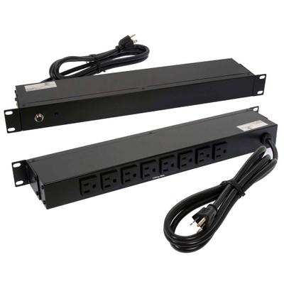 19 inch 1U Rackmount 8-Outlet Power Distribution Unit (PDU), Power Strip (Metal Case), 12A with 6ft Power Cord - Part Number: 51W2-20806
