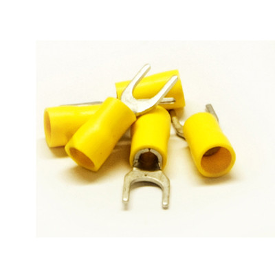 Fork Terminal, Yellow, 12 AWG - 14 AWG, Electrical Wire Connection, 100 Pieces - Part Number: 55TR-20014