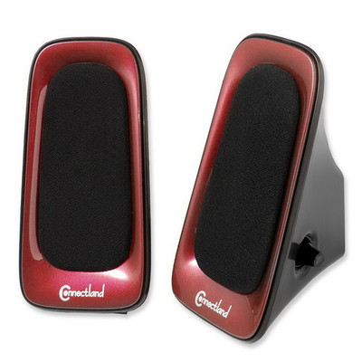 USB Powered Multimedia Speaker System for Desktops, Laptops, Tablets and MP3 Players, Red - Part Number: 60PS-22100RD