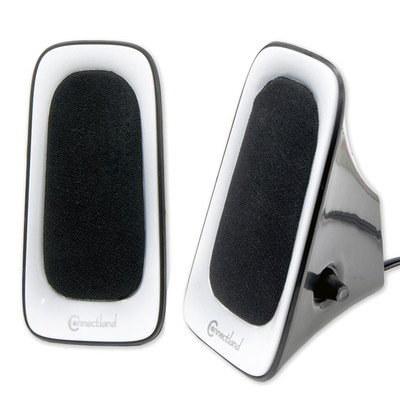 USB Powered Multimedia Speaker System for Desktops, Laptops, Tablets and MP3 Players, White - Part Number: 60PS-22100WH