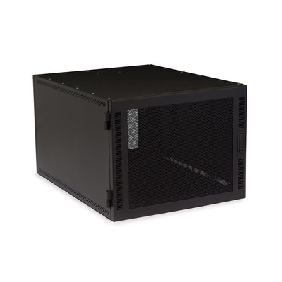 8U Compact Server Cabinet, with adjustable rails, caster wheels, 400 lbs capacity, Vented Door - Part Number: 61C4-11208