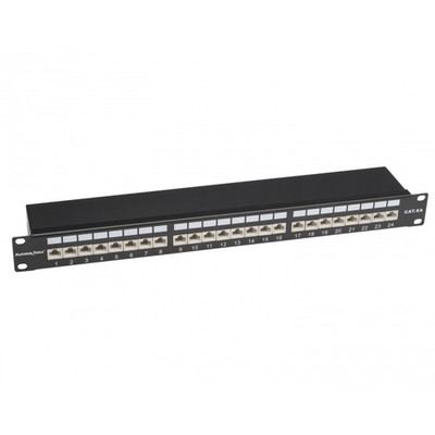 Rackmount 24 Port Shielded Cat6A Patch Panel, Horizontal, 110 Type, 568A and  568B Compatible, 1U - Part Number: 675-24C6AS