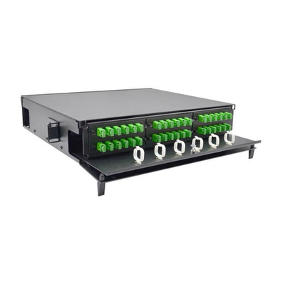 2U Fiber Optic Patch Panel,  Capacity 6 LGX Adapter Plates / Cassettes / Modules, Unloaded, Lexan Front Door, Black Powder Coat - Part Number: 68F1-20610