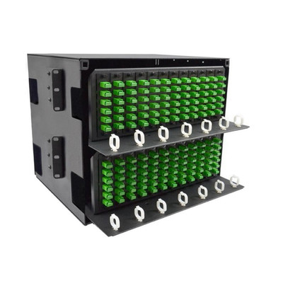 8U Fiber Optic Patch Panel, Capacity 24 LGX Adapter Plates / Cassettes / Modules, Unloaded, Solid Door, Black Powder Coat - Part Number: 68F1-82410
