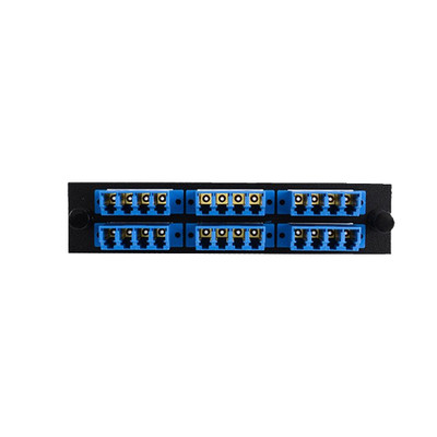 LGX Compatible Adapter Plate featuring a Bank of 6 Singlemode LC Quad Connectors in Blue for OS1 and OS2 applications, Black Powder Coat - Part Number: 68F3-02160