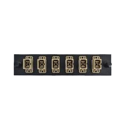 LGX Compatible Adapter Plate featuring a Bank of 6 Multimode SC Connectors in Beige for OM1 and OM2 applications, Black Powder Coat - Part Number: 68F3-10060